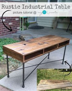 Learn to make your own beautiful Rustic Industrial Table with reclaimed fence wood and metal legs #Rusticindustrial