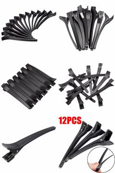 12pcs Hair Clips Pro Hairdressing Aluminum Plastic Clamps Hottest Useful Salon Section Styling Tools Durable Fashion Trendy Apparel Accessories