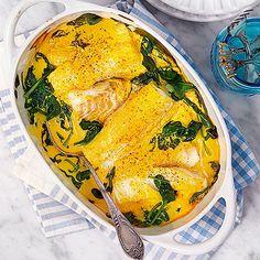 Ugnsfisk med saffran och grönkål