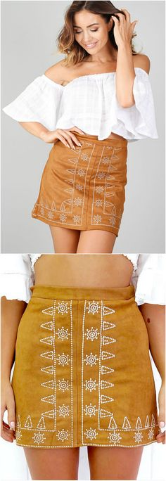 On Sale $31 - A Bohemian Embroidery Skirt from Pasaboho. This skirt exhibit brilliant colours with tribal embroidered patterns. Inspired from the latest boho chic fashion style.