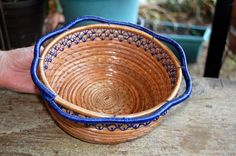 2015 W Wright Basket Weaving, Hand Weaving, Pine Needle Crafts, Pine Needle Baskets, Pine Needles, Gourd Art, Gourds, Serving Bowls, Pottery