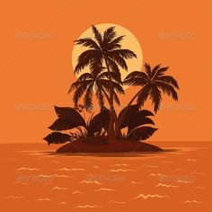 Tropical sea island with palm trees and sun  Vector EPS 8 plus AI CS 5 plus high-quality Jpeg. Editable vector file, containing on