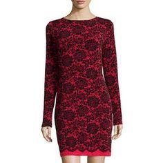 MICHAEL Michael Kors Women's Boat-Neck Long-Sleeve Lace-Print Dress, Macintosh