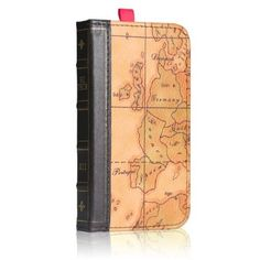 EC TECHNOLOGY® iPhone 4 4S Wallet Case, Retro Map Pattern Genuine Handmade Leather Case:Amazon:Cell Phones & Accessories