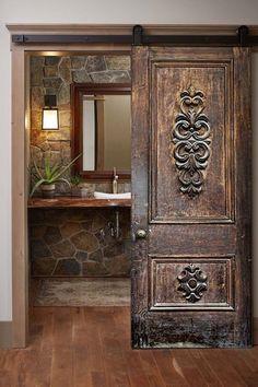 Door Entryway, Entrance Doors, Rustic Doors, Wooden Doors, Barn Doors, Barn Door Designs, Exterior Front Doors, Unique Doors, Wood Wall Decor