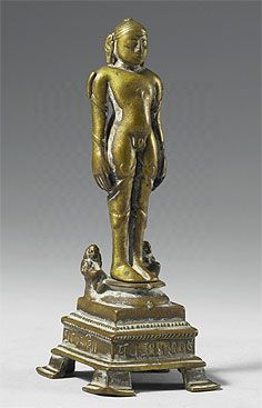Jina Bahubali, in the body-abandonment pose.  Southeast India 14th century. Gilt-bronze H. 13.6cm