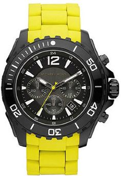 Michael Kors Black Dial Chronograph Yellow Silicone Strap Mens Watch MK8236 *** Check out the image by visiting the link.