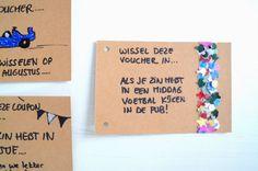voucher confetti maken waardebon Gift Vouchers, Coupons, Boyfriend, Fun, Crafts, Paintings, Outfits, Manualidades, Suits