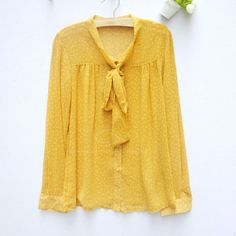 Stylish Bow Collar Long Sleeve Solid Color Dot Print Design Chiffon Slimming Fit Shirt For Women (GINGER,ONE SIZE) China Wholesale - Sammydress.com