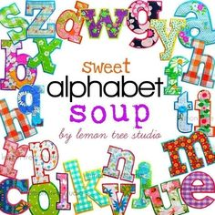 Digital Clip Art -- Sweet Alphabet Soup. $7.00, via Etsy.