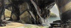 Sarah Adams, Half Tide at Porthmissen, oil on linen, 60 x 150 cm