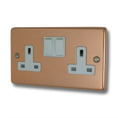 Contour Copper Double Socket (White Switch) - Contour - Copper - Sockets and Switches