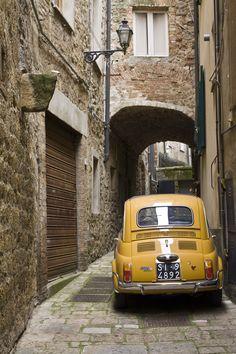 Vintage yellow Fiat 500