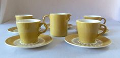 mid century Cup and Saucer Set Vintage Cream by BeeHavenHome
