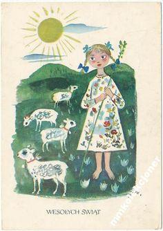 Szancer Wesołych Świąt Vintage Easter, Vintage Christmas, Polish Easter, Polish Folk Art, Easter Lamb, Art Costume, Unusual Art, Christmas Clipart, Children's Book Illustration