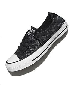 Classic Shoreline #Chucks feature a cool black feather design only available at Famous! We also love the slip-on style: $54.99. #converse #famousfootwear #onlyatfamous #sneakers