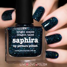 Picture Polish: Saphira  ... a navy/deep blue jelly based nail polish loaded with tiny silver holographic flakes and silver holographic hexagon glitters