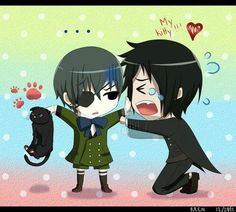 "Black Butler ~~ Ciel takes Sebastian's kitty away. Wonder if that will help matters or hurt them? ""Bocchan please!"""