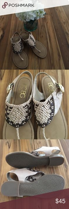 ✨SALE✨BCBG Paris sandals Brand new. Never worn. Brown & tan woven braided leather straps with gold buckle. Thong style. Rubber sole. Size: 7.5 B BCBG Paris Shoes Sandals