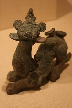 A statue designed in the shape of a winged beast. Most likely based on a myth at the time. Ornament in the Shape of a Fantastic Winged Feline China Eastern Zhou dynasty, BC century BC Bronze Historical Artifacts, Ancient Artifacts, Chinese Culture, Chinese Art, Ancient Aliens, Ancient History, Ancient Discoveries, Zhou Dynasty, Ancient China