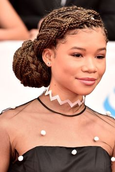 Storm Reid's Wrapped and Braided Chignon