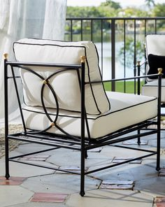 We love the graceful lines and Art Deco feel of our Frances Iron Outdoor Collection! Outdoor Living Furniture, Porch Furniture, Iron Furniture, Outdoor Dining Chairs, Outdoor Cushions, Garden Furniture, Outdoor Decor, Furniture Ideas, Furniture Design