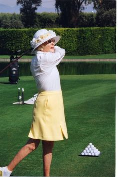 Legendary hostess Leonore Annenberg maintained her impeccable style even while on the driving range. (Sunnylands Collection, circa 1995)