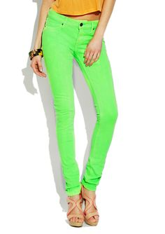 Get your glow on with lime green skinny jeans!
