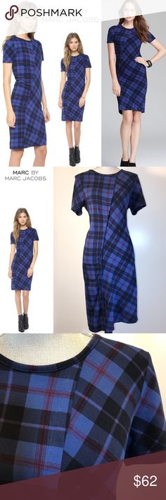 """MARC BY MARC JACOBS Dress Penn Plaid Size M MARC BY MARC JACOBS Dress Penn Plaid Size M. New but no tags. It's 39"""" long from neckline. Very soft and pretty. 95% cotton and 5% spandex. Original Price $198.         Dlm1580120 Marc by Marc Jacobs Dresses Midi"""