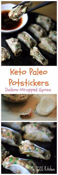 My PCOS Kitchen - Paleo Potstickers - Daikon Radish Wrapped Japanese Gyoza//Dumplings. #paleo #glutenfree #lowcarb #grainfree #potsticker #potstickers #gyoza #dumplings #japanese #keto #ketogenic #lchf #pcos #soyfree