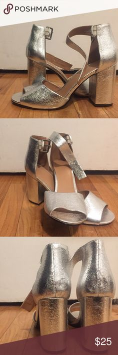 "Urban Outfitters Silver, Open-Toe Pumps Urban Outfitters, silver metallic, open-toe pumps with an ankle strap and 4"" heel. Never worn! Size 10. Urban Outfitters Shoes Heels"