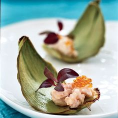International Foods for Cocktail Hour - Meal & Drinks- artichoke leaves, taramasalata, caviar