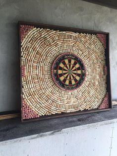 DIY wine cork dart board.