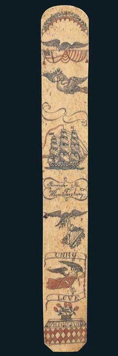 Decorated bodice busk - Ca. 1840 - would make a fine tattoo design..