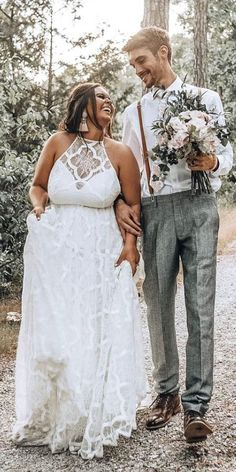33 Plus-Size Wedding Dresses: A Jaw-Dropping Guide ❤ plus size wedding dresses a lin boho halter neckline lace grace loves lace ❤ See more: www. wedding dress plus size 36 Plus-Size Wedding Dresses: A Wow Guide Boho Wedding Dress With Sleeves, Plus Size Wedding Gowns, Plus Size Brides, Plus Size Elopement Dress, Curvy Wedding Dresses, Full Figure Wedding Dress, Day Dresses, Plus Size Dresses, Event Dresses