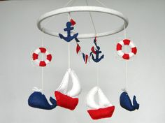 SALE 20% Nautical sailboat baby mobile Felt by Rainbowsmileshop