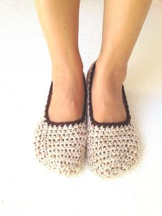 Crochet Womens Slippers Ballet Flats House Shoes by cookieletta, $19.00