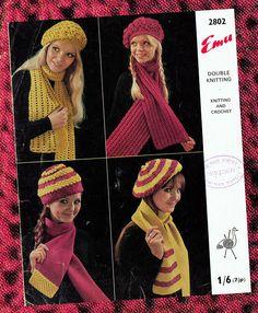 Items similar to Original Vintage Womens Ladies Beret Hat & Scarf Knitting Crochet Pattern Boho Mod Sex Kitten Graphic Groovy Kitsch Cap Emu 2802 on Etsy Vintage Knitting, Vintage Crochet, Lace Patterns, Knit Crochet, Crochet Hats, Bonnet Hat, Hippie Chick, Beret