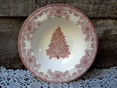 """CHRISTMAS BOWL, Christmas Tree Salad Bowl, 8 3/8"""", Red Transferware, Staffordshire, Serving, Holiday Bowl, Entertaining, Christmas by CottonCreekCottage on Etsy https://www.etsy.com/listing/474579851/christmas-bowl-christmas-tree-salad-bowl"""