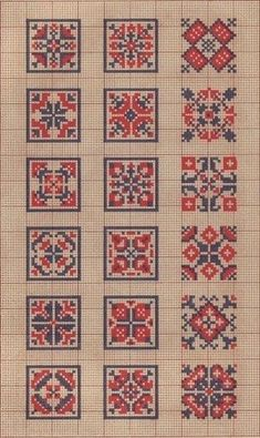 Wouldn't these be great biscornus! Cross Stitch Borders, Cross Stitch Samplers, Cross Stitch Charts, Cross Stitch Designs, Cross Stitching, Cross Stitch Patterns, Folk Embroidery, Cross Stitch Embroidery, Embroidery Patterns