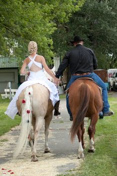 country wedding - horseback recessional