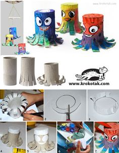 DIY Paper Roll Cheerful Octopuses