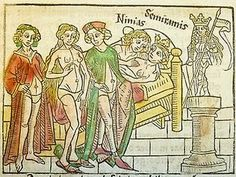 """Above is a book illustration from a German translation of Giovanni Boccaccio's Famous Women, which was published in 1474. It displays the ladies-in-waiting of Semiramis, Queen of the Assyrians, wearing underpants. But of the Queen, it is said """"Semiramis, a woman once Ninus' wife, masqueraded as a boy, his son"""" and """"it is believed that she gave herself to many men. Among her lovers was her own son Ninias."""""""