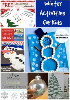 Winter Activities for Kids. Winter crafts for kids. Stay in and learn with these winter crafts for kids. Snowmen, printables, trees, snowflakes and more. Winter Activities For Kids, Winter Crafts For Kids, Winter Kids, Christmas Activities, Winter Christmas, Kids Crafts, Craft Projects, Craft Ideas, Xmas