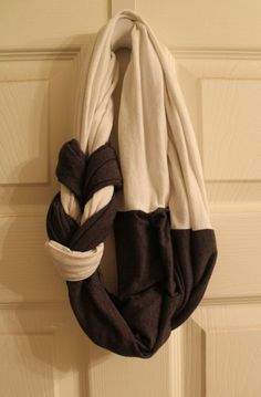 DIY Braided T-Shirt Scarf for Seton BBall games, fleece from the football blanket