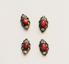 3d nail art, vintage inspired Blood red nail jewelry, nail charm, nail art decoration cabochon