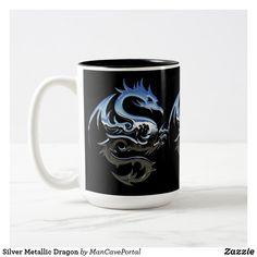Silver Metallic Dragon Two-Tone Coffee Mug Beer Mugs, Coffee Mugs, Artwork Design, Photo Mugs, Portal, Colorful Backgrounds, Color Pop, Create Your Own, Coasters