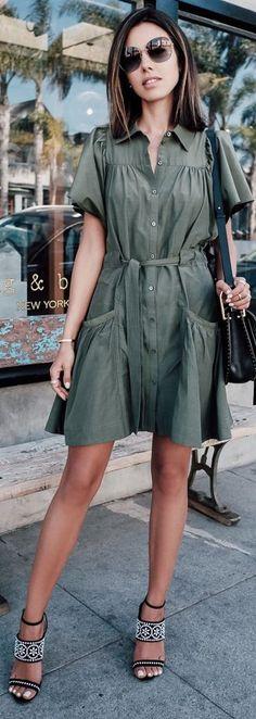 Button down shirt dress + embellished sandals.