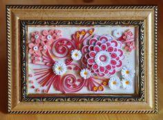 quilling,  квиллинг, цветы,  в розовых тонах ( мои работы) панно flowers