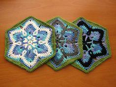 Starflower hexagon, free pattern by mnemosynestar;  reminds me of a snowflake :-)   . . . .   ღTrish W ~ http://www.pinterest.com/trishw/  . . . .  #crochet #motif